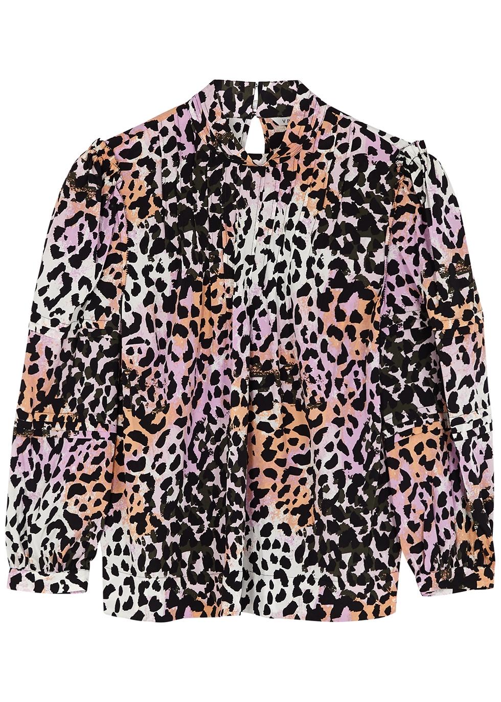 Hayden leopard-print silk-blend blouse
