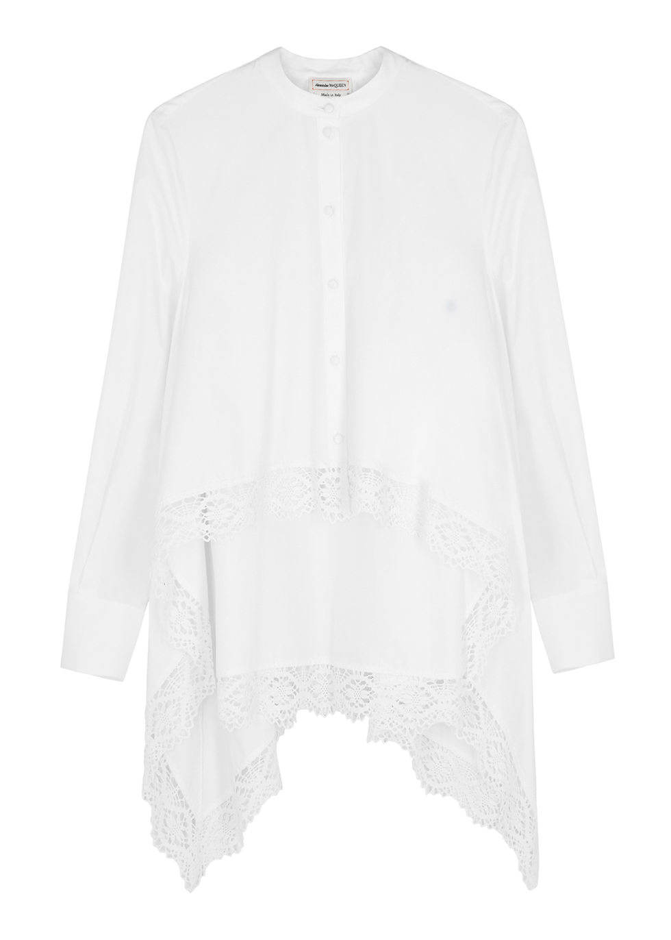 White lace-trimmed cotton-poplin shirt