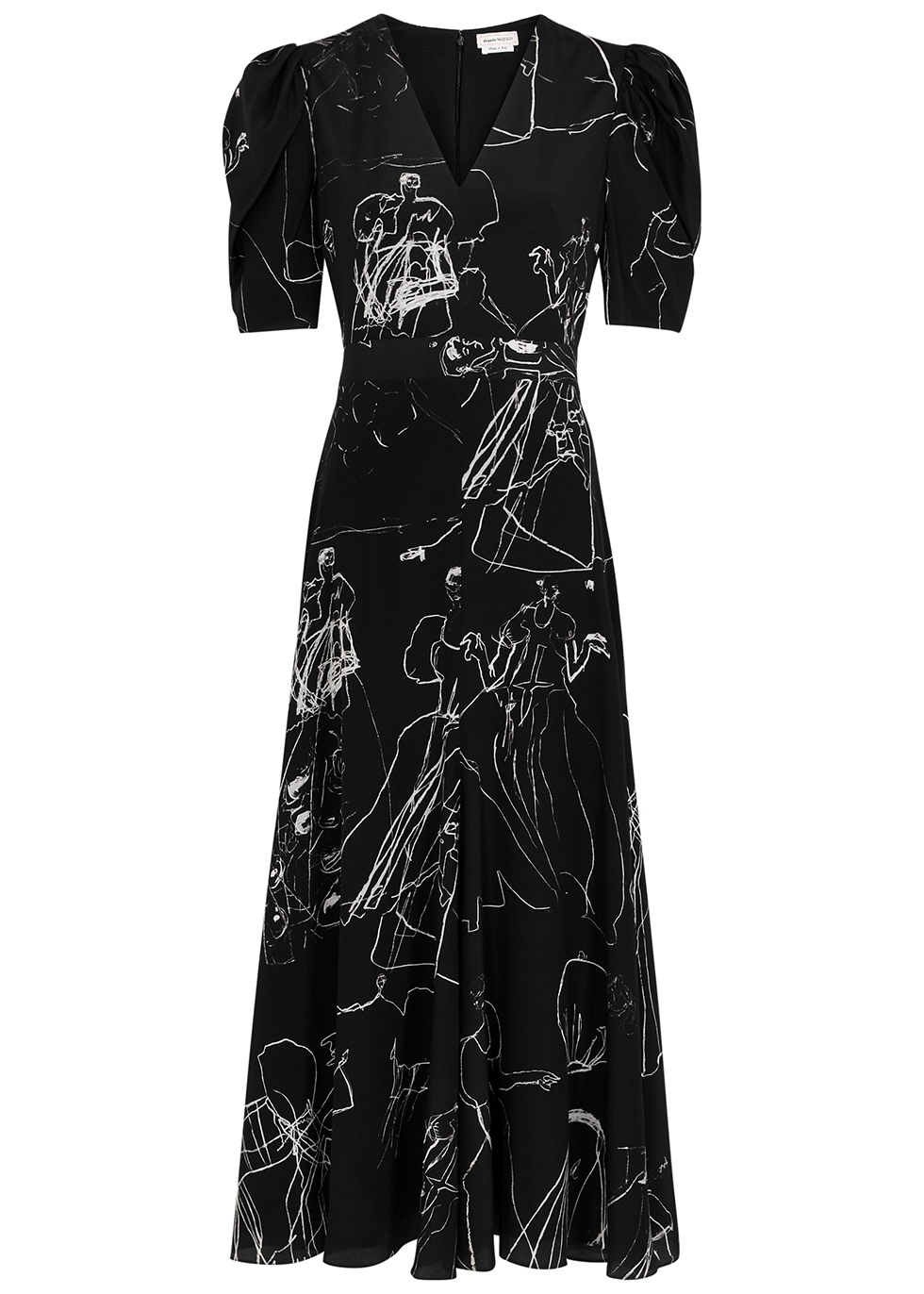 Black printed silk dress