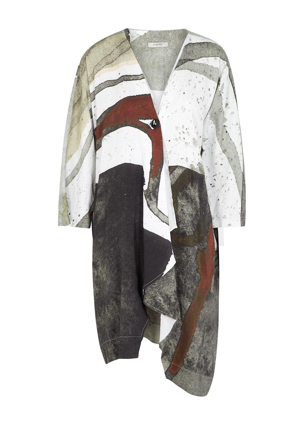 Printed draped woven jacket