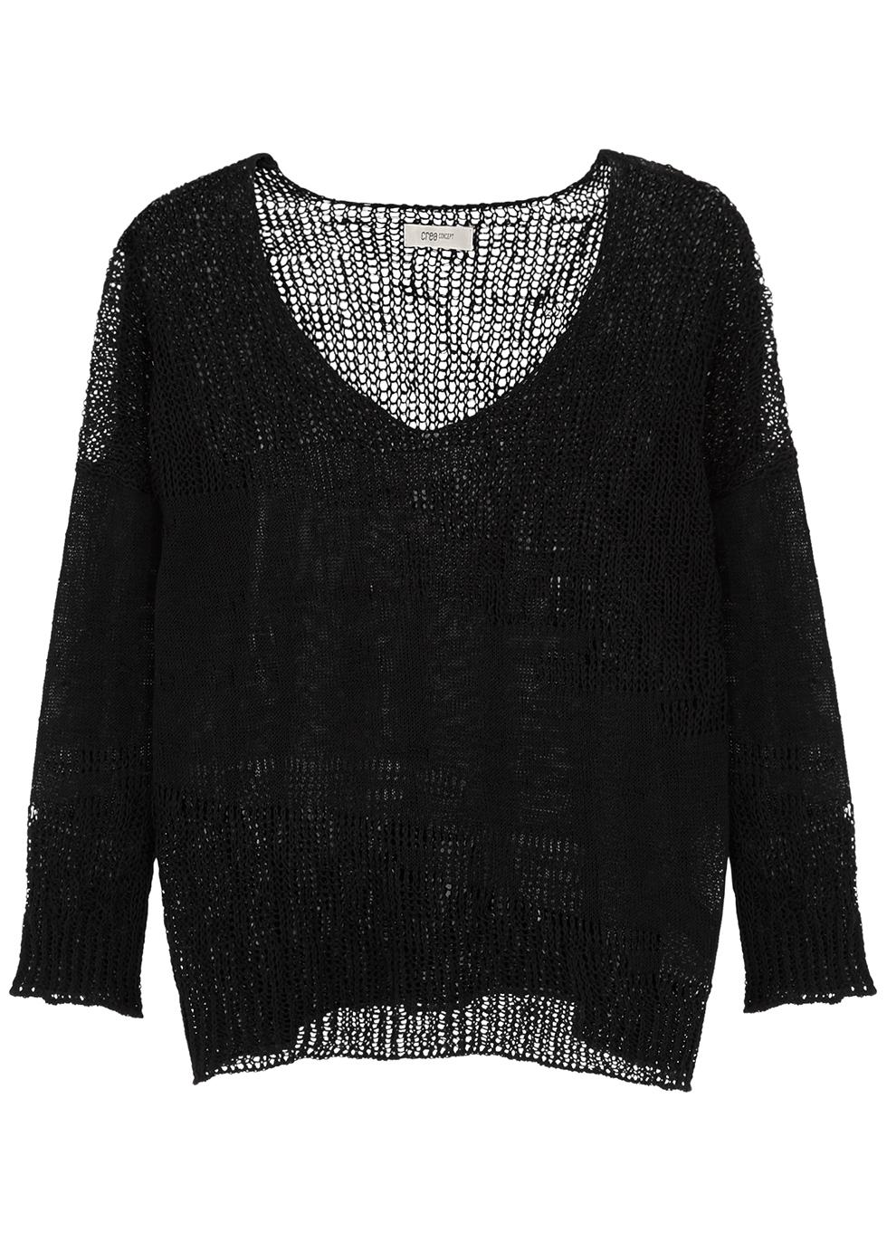 Black loose-knit linen-blend jumper