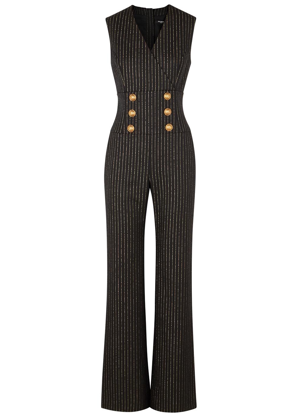 Pinstriped wool-blend jumpsuit