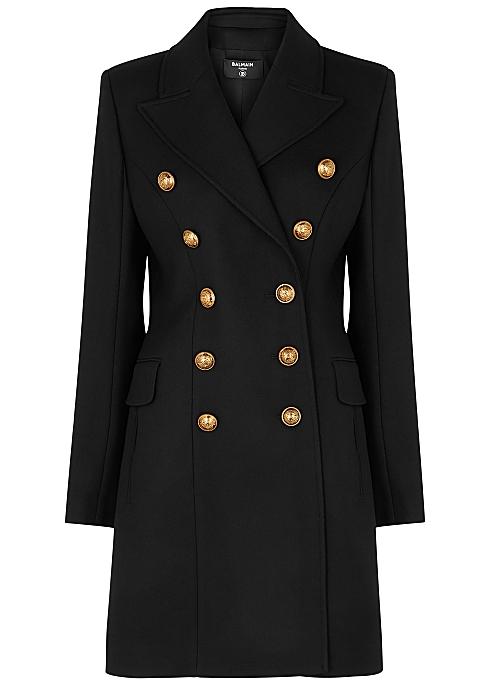 Black double-breasted wool coat - Balmain