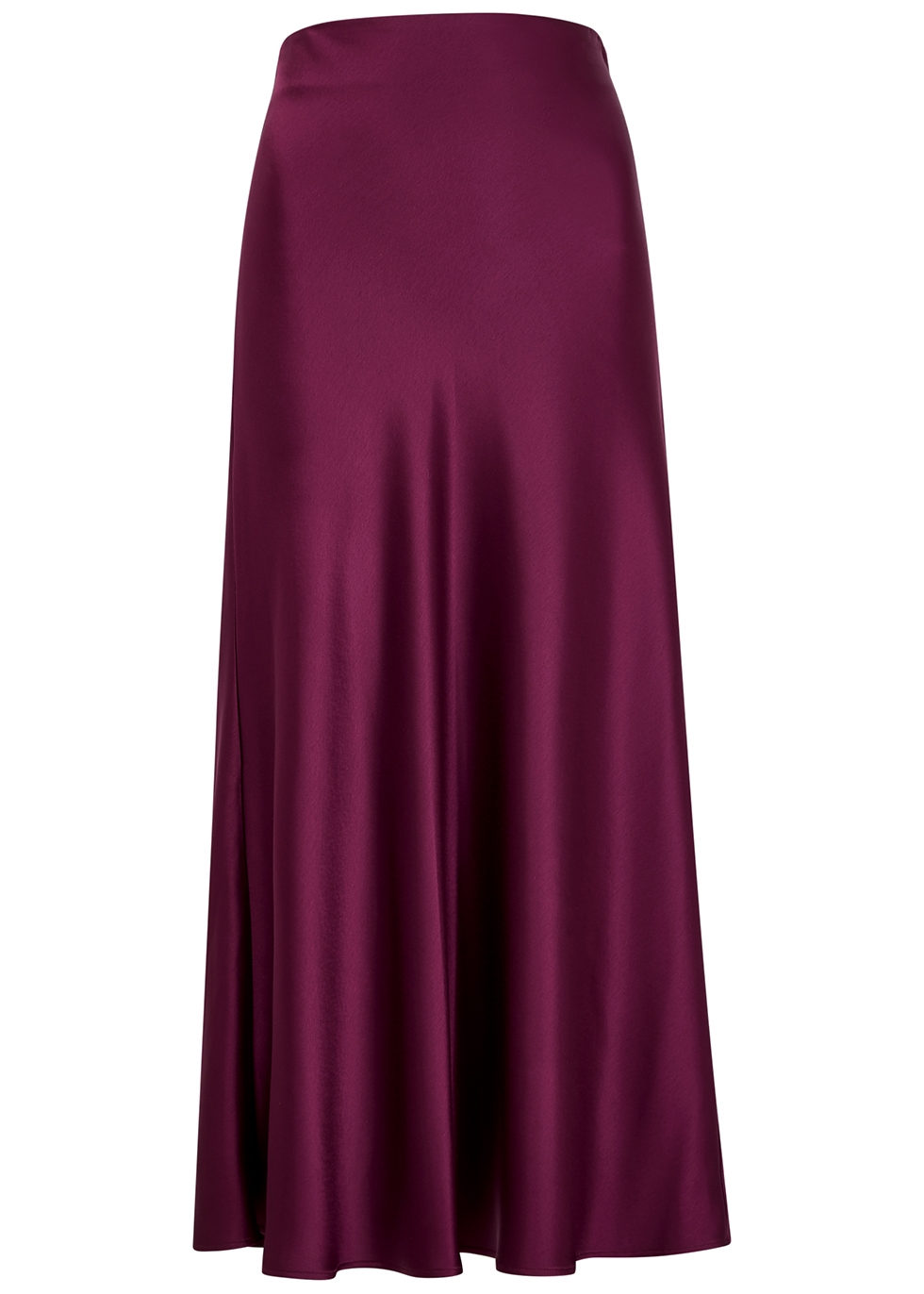 Valletta burgundy satin midi skirt