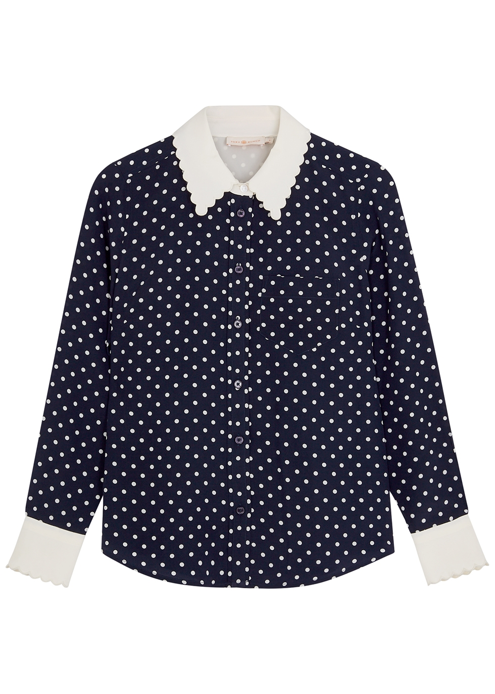Polka-dot print silk shirt