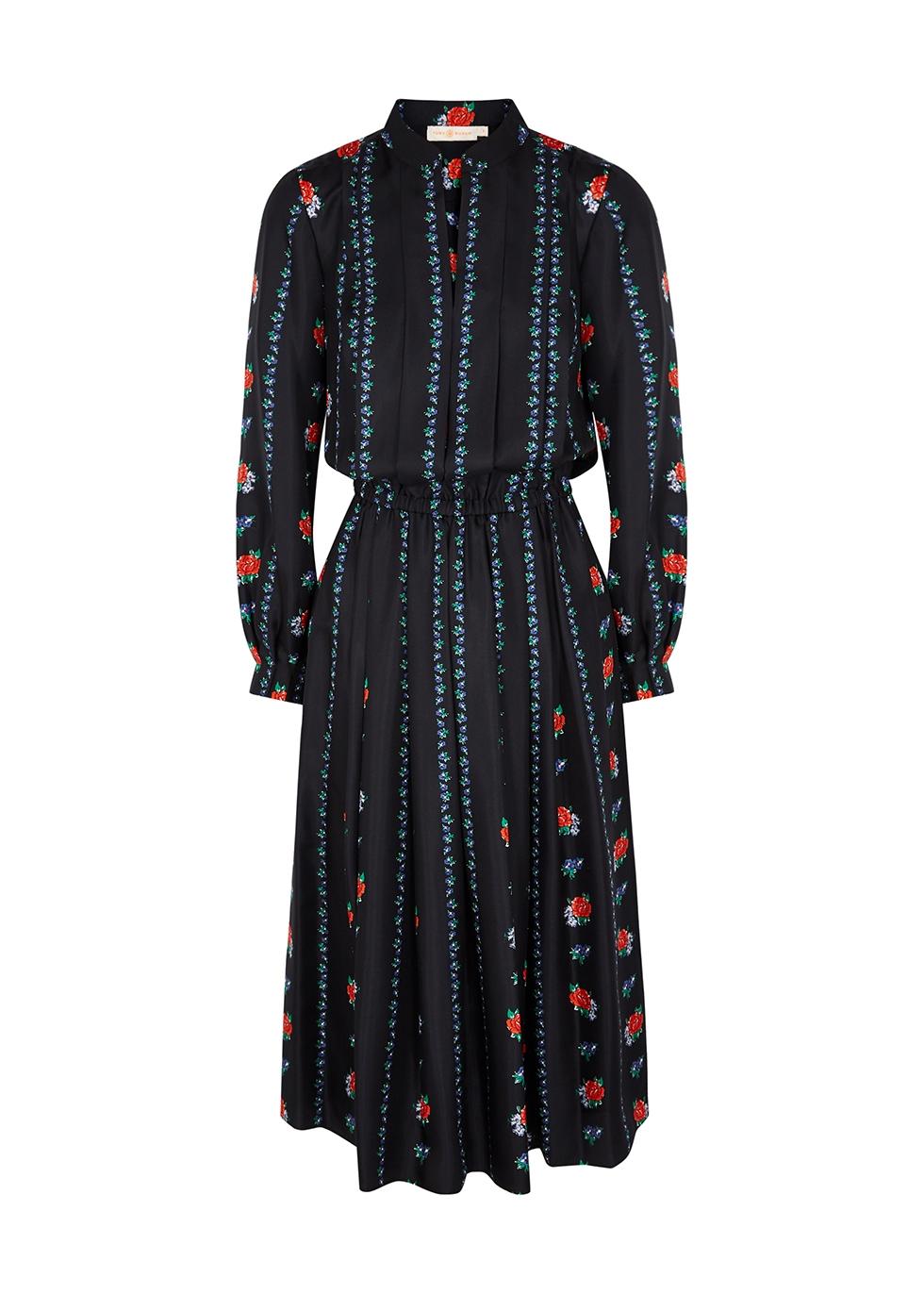 Floral-print pleated silk-twill dress
