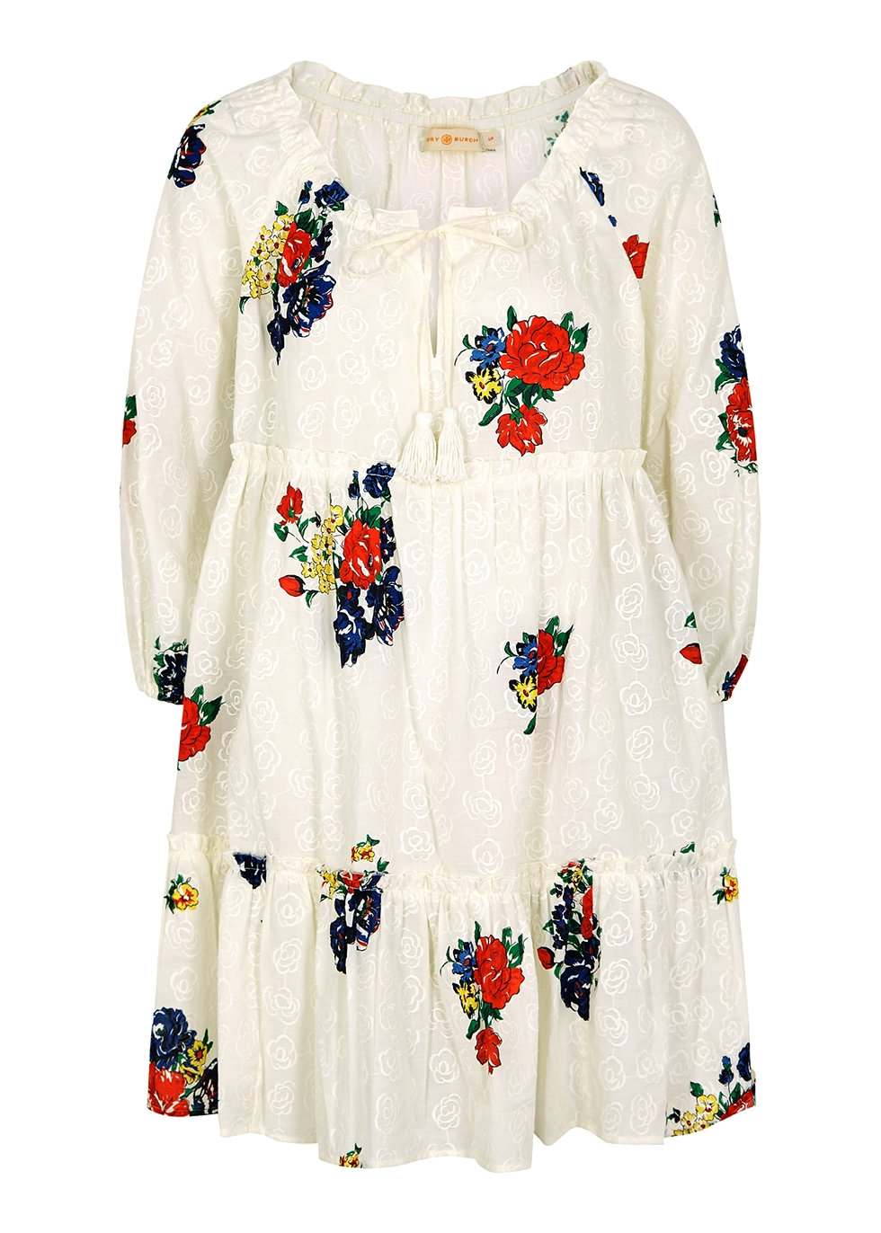 Floral-print embroidered cotton dress