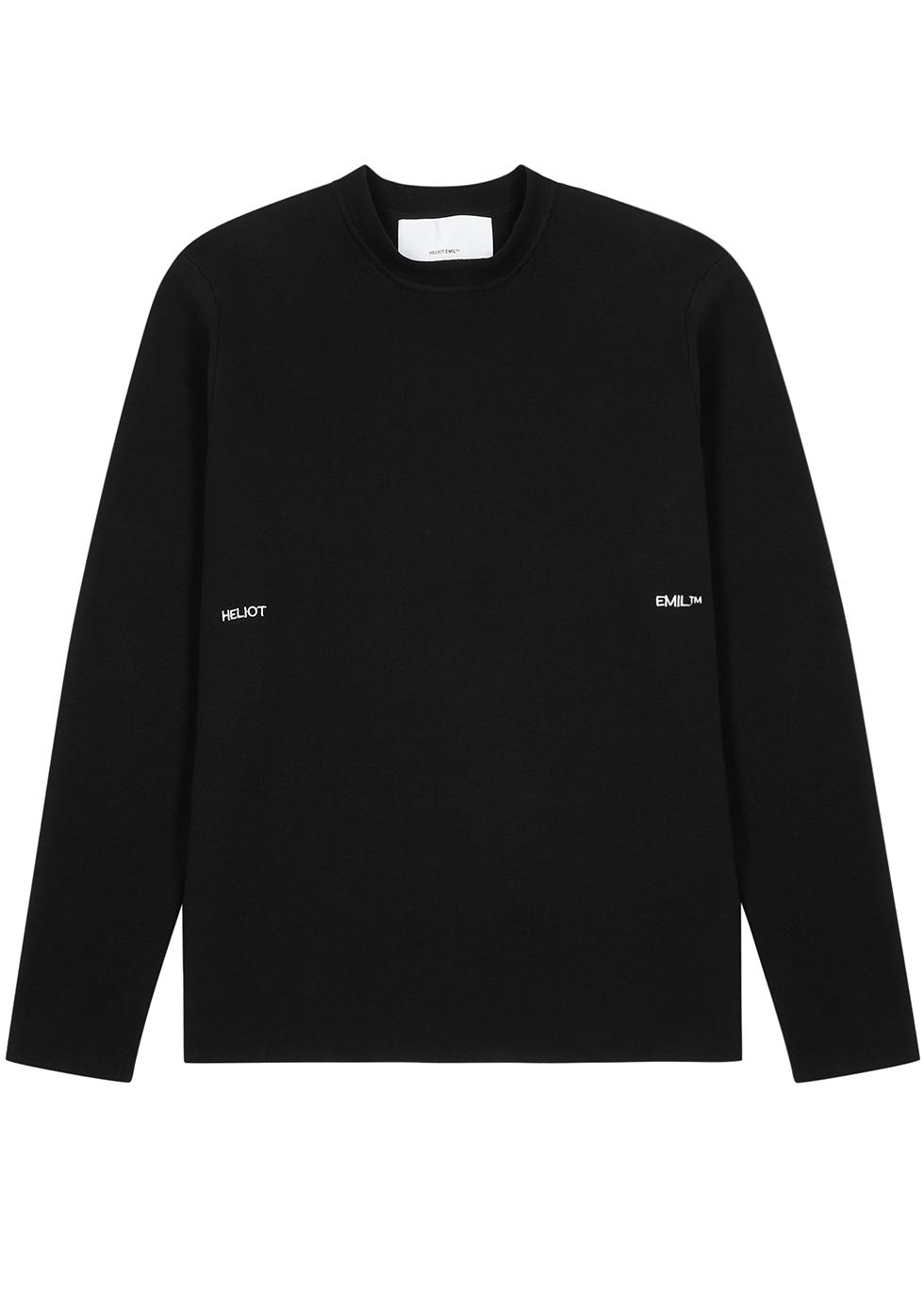Black fine-knit cotton jumper