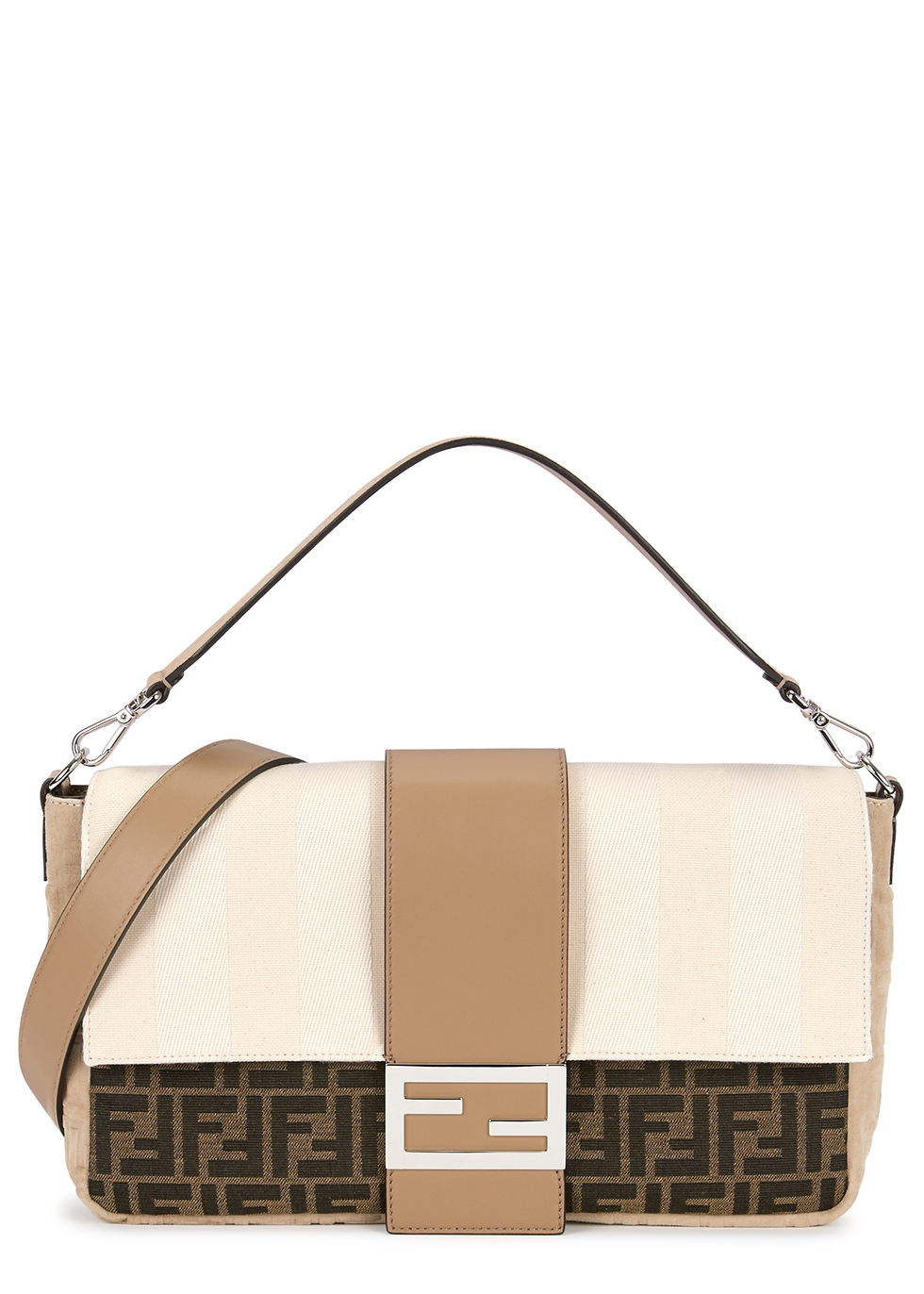 Fendi Baguette large canvas cross body bag Harvey Nichols