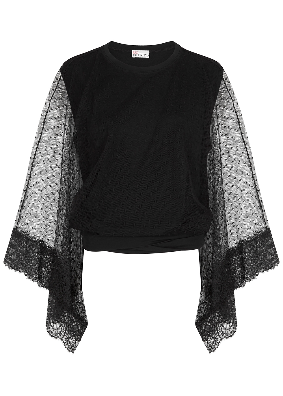 Black cape-effect stretch-jersey top