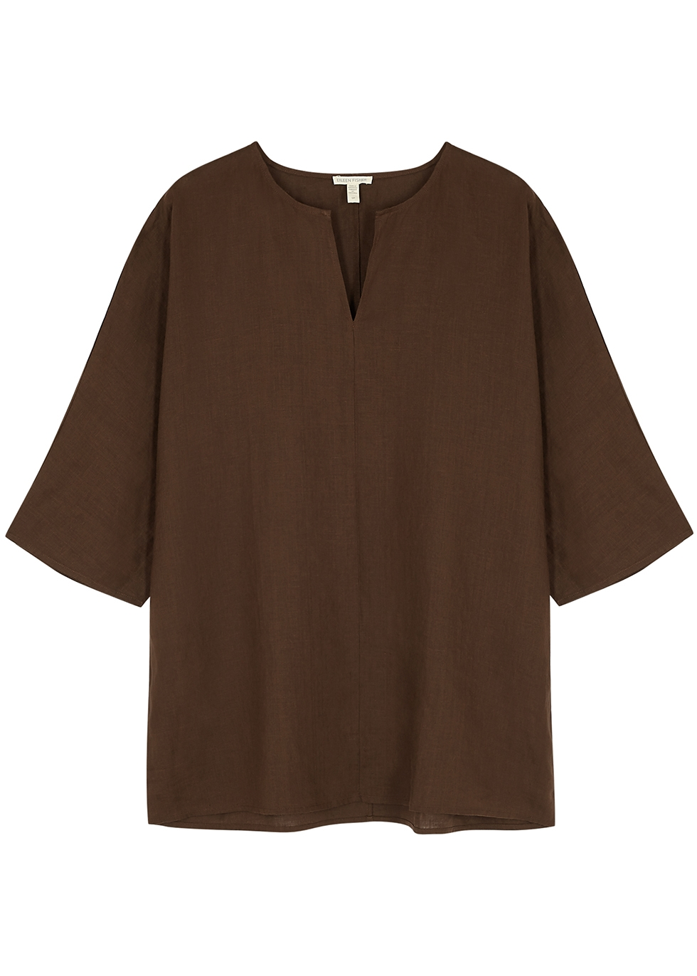 Brown organic linen top