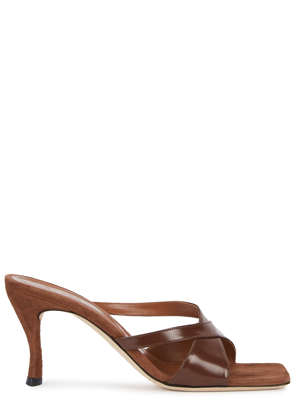 Kitty 75 brown leather mules