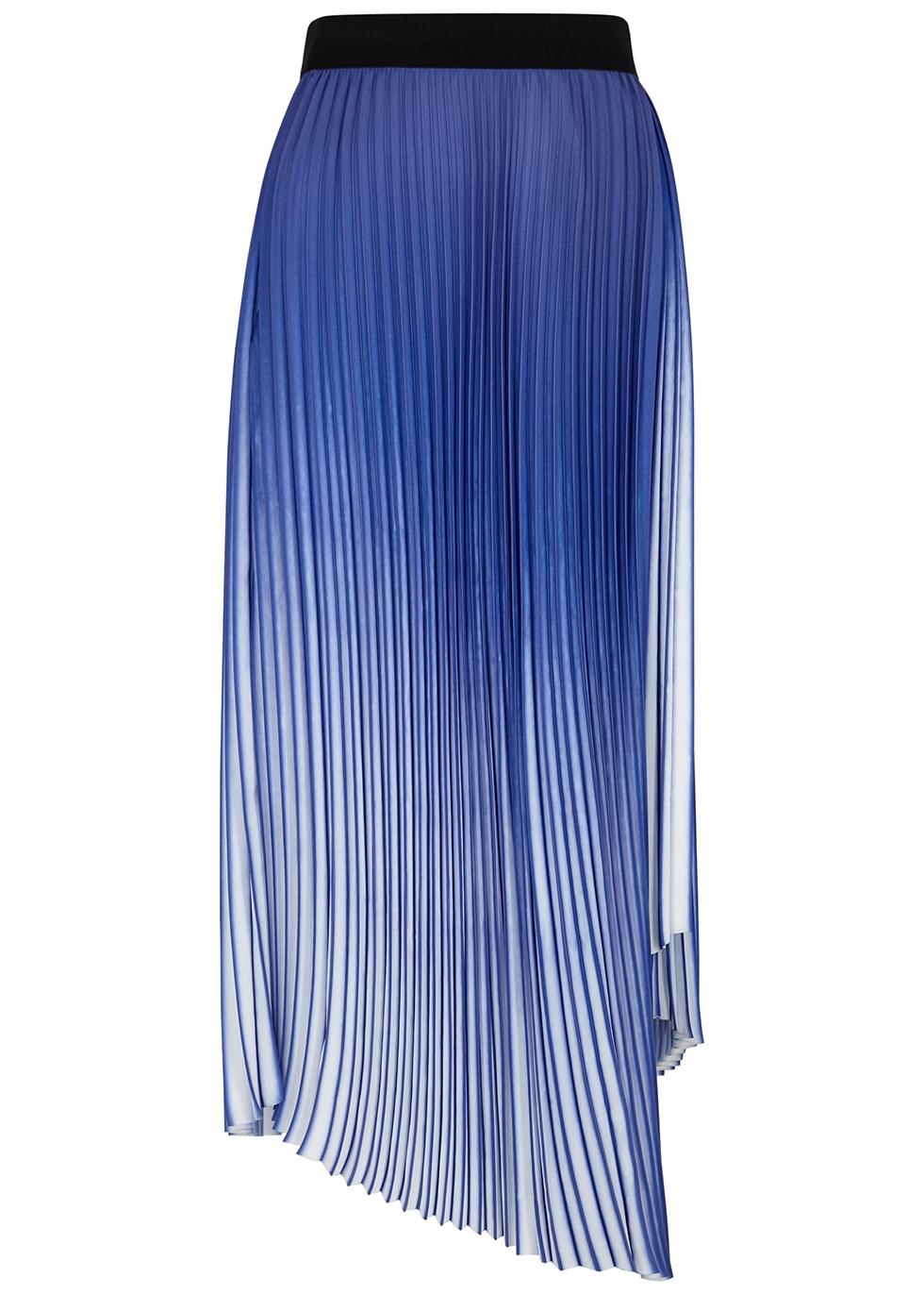 Piza blue degradé plissé midi skirt