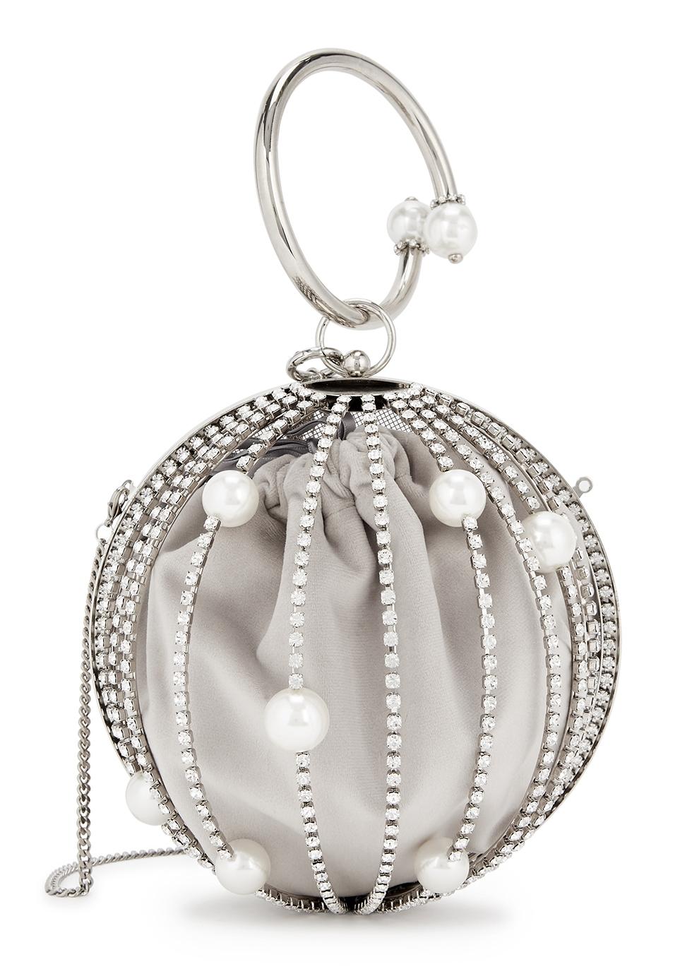 Ruby crystal-embellished top handle bag