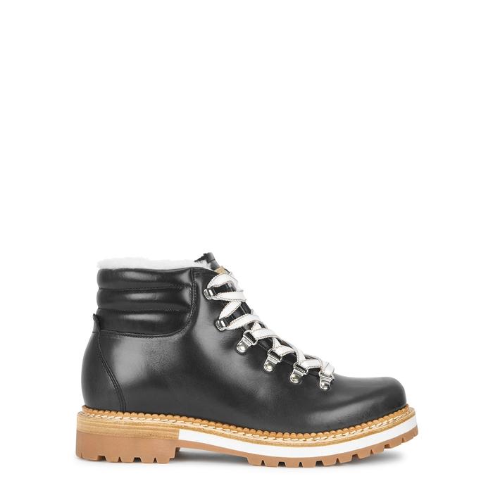 Montelliana Marlena Anthracite Leather Hiking Boots In Dark Grey