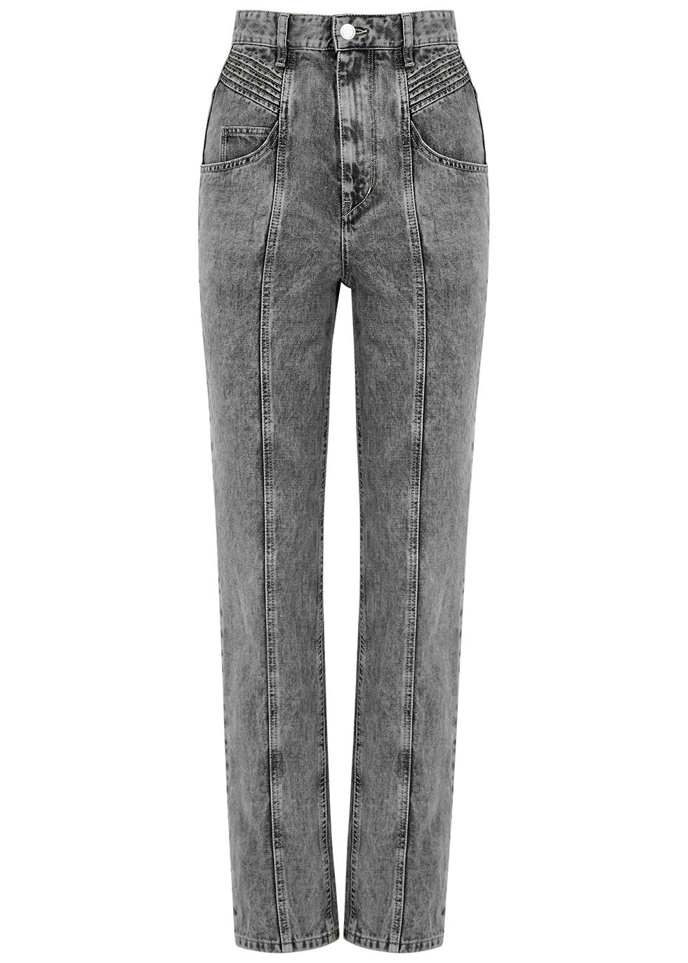 Henoya grey straight-leg jeans