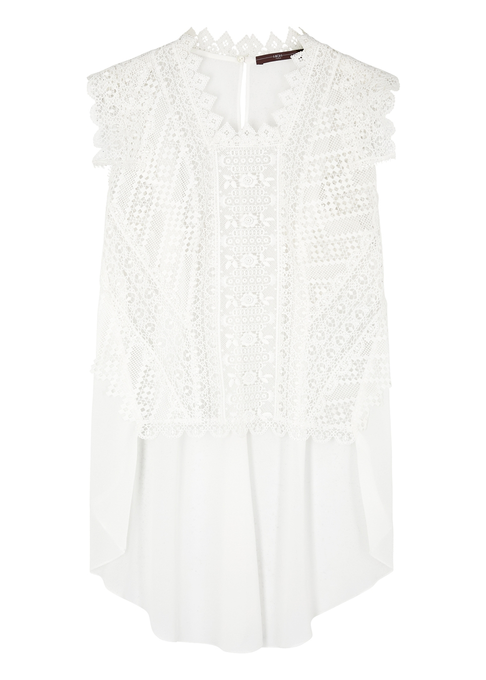 Finesse white guipure lace top
