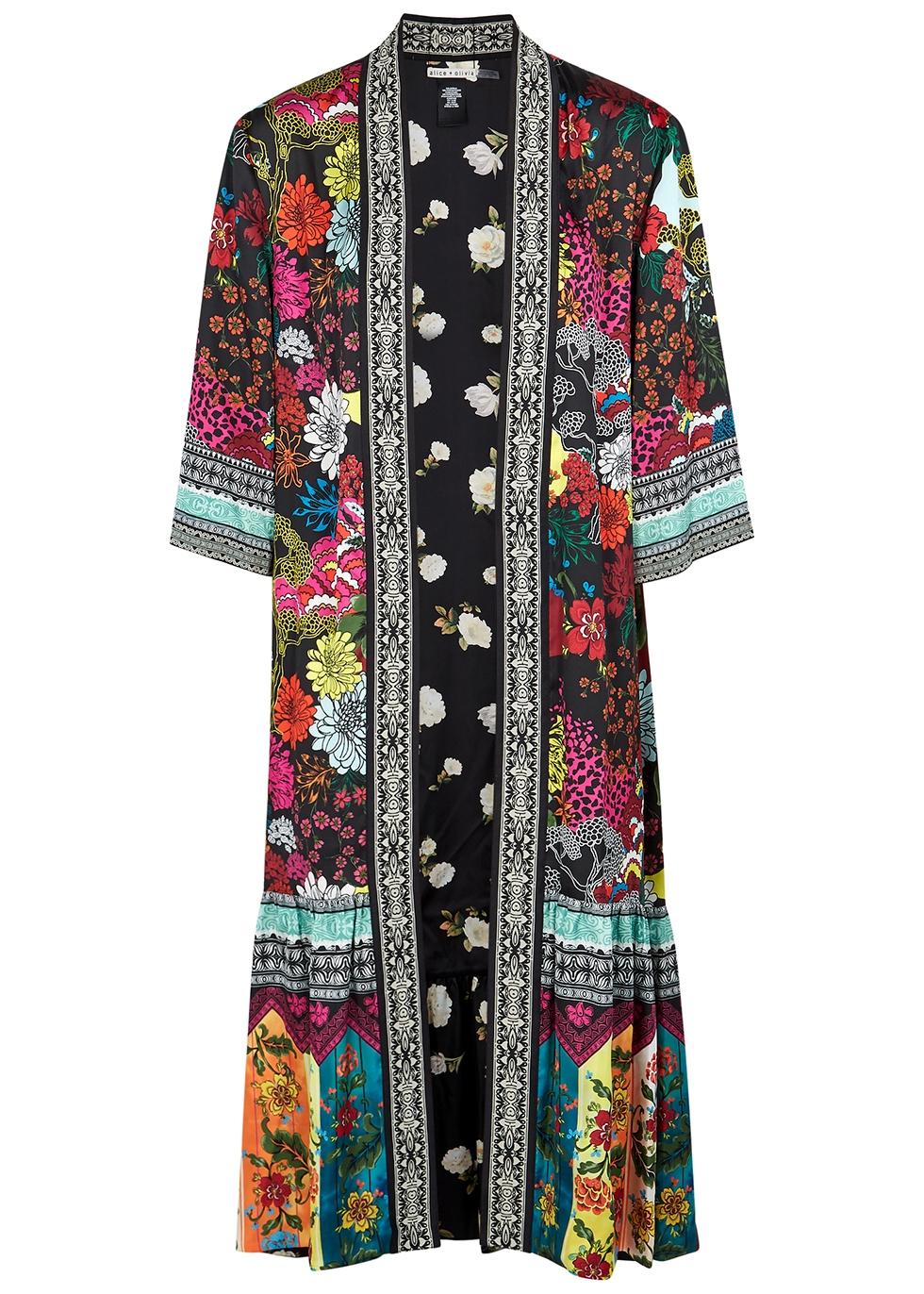 Dottie floral-print reversible satin jacket