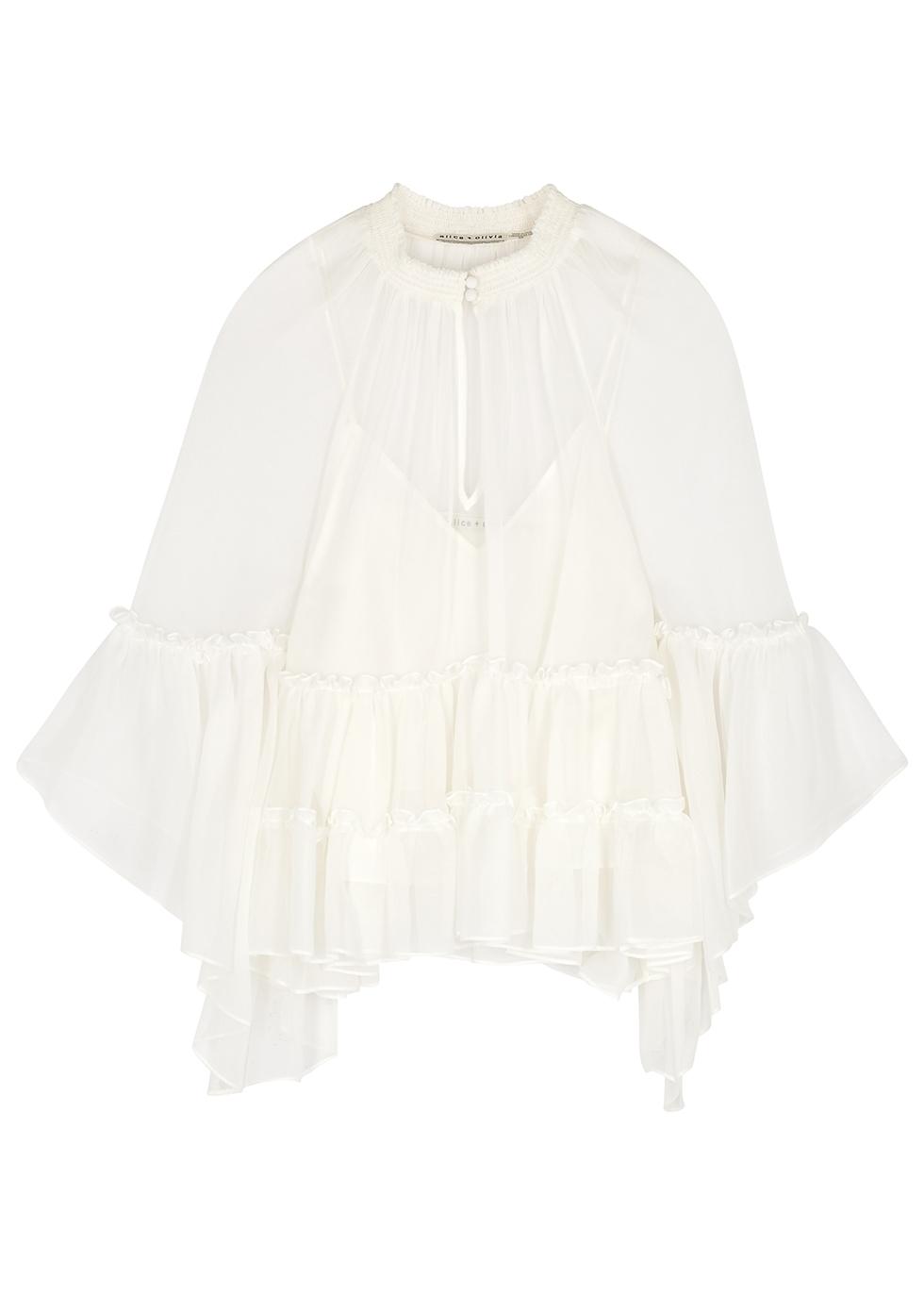 Lanita ivory ruffle-trimmed silk-chiffon blouse