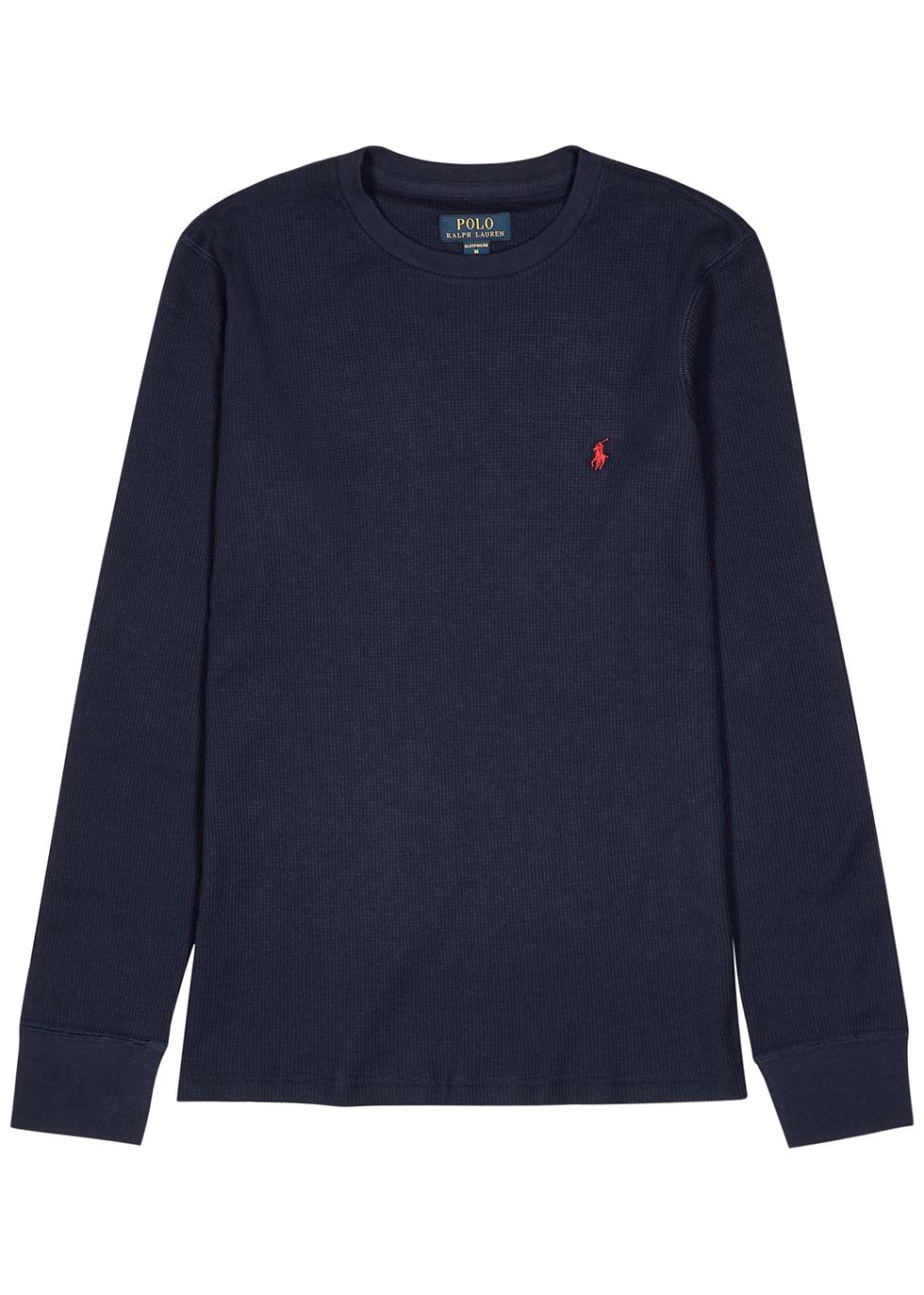 Navy cotton-blend top