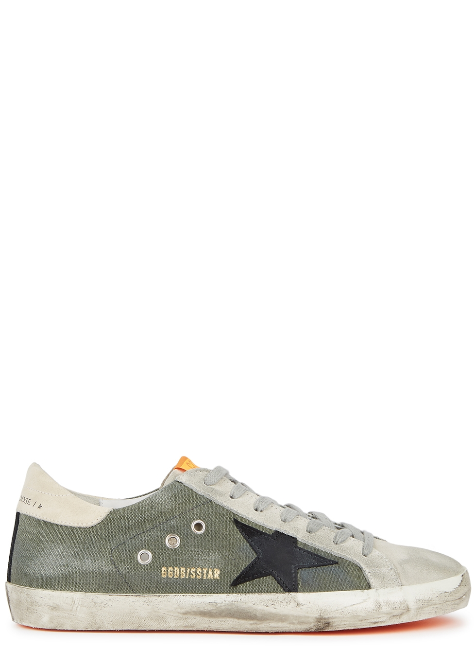 Superstar distressed canvas and suede sneakers
