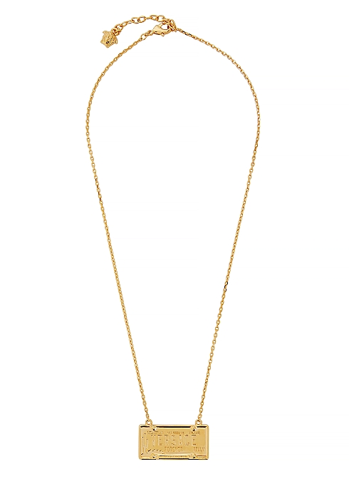 VERSACE Gold-tone number plate necklace