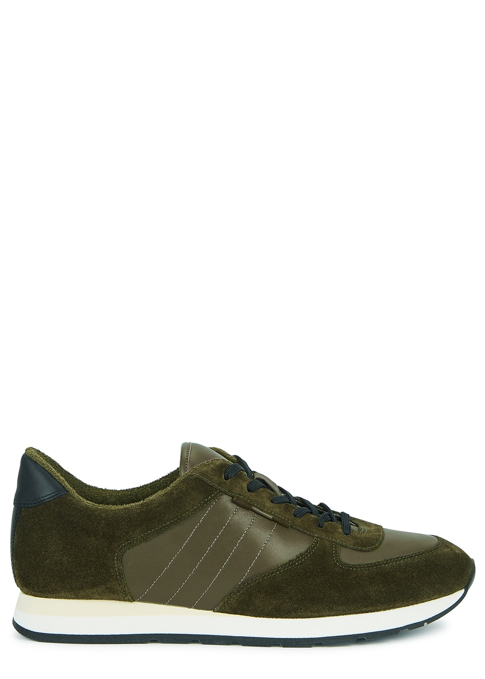 Pasha green leather and suede sneakers