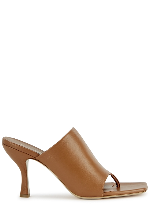 Gia X Pernille Teisbaek 80 brown leather mules