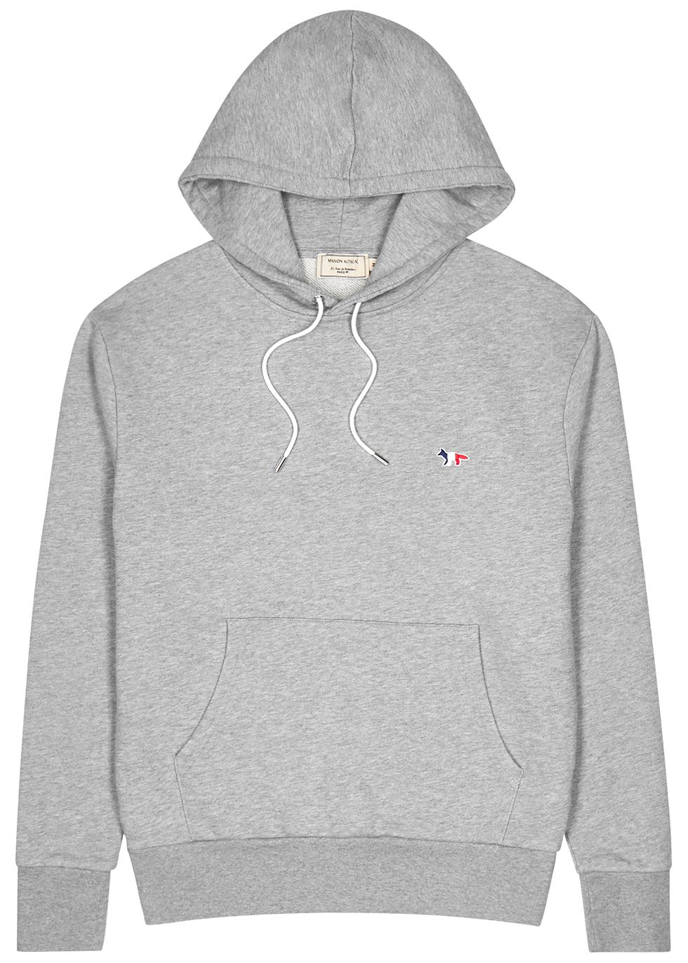 Grey hooded cotton-jersey sweatshirt