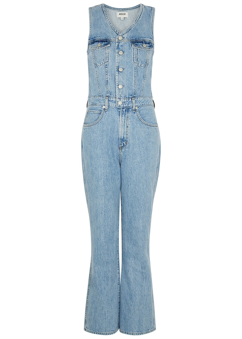 70's blue denim jumpsuit