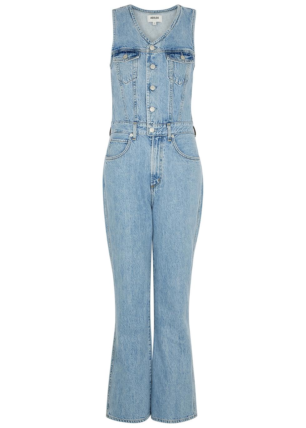 70's blue denim jumpsuit