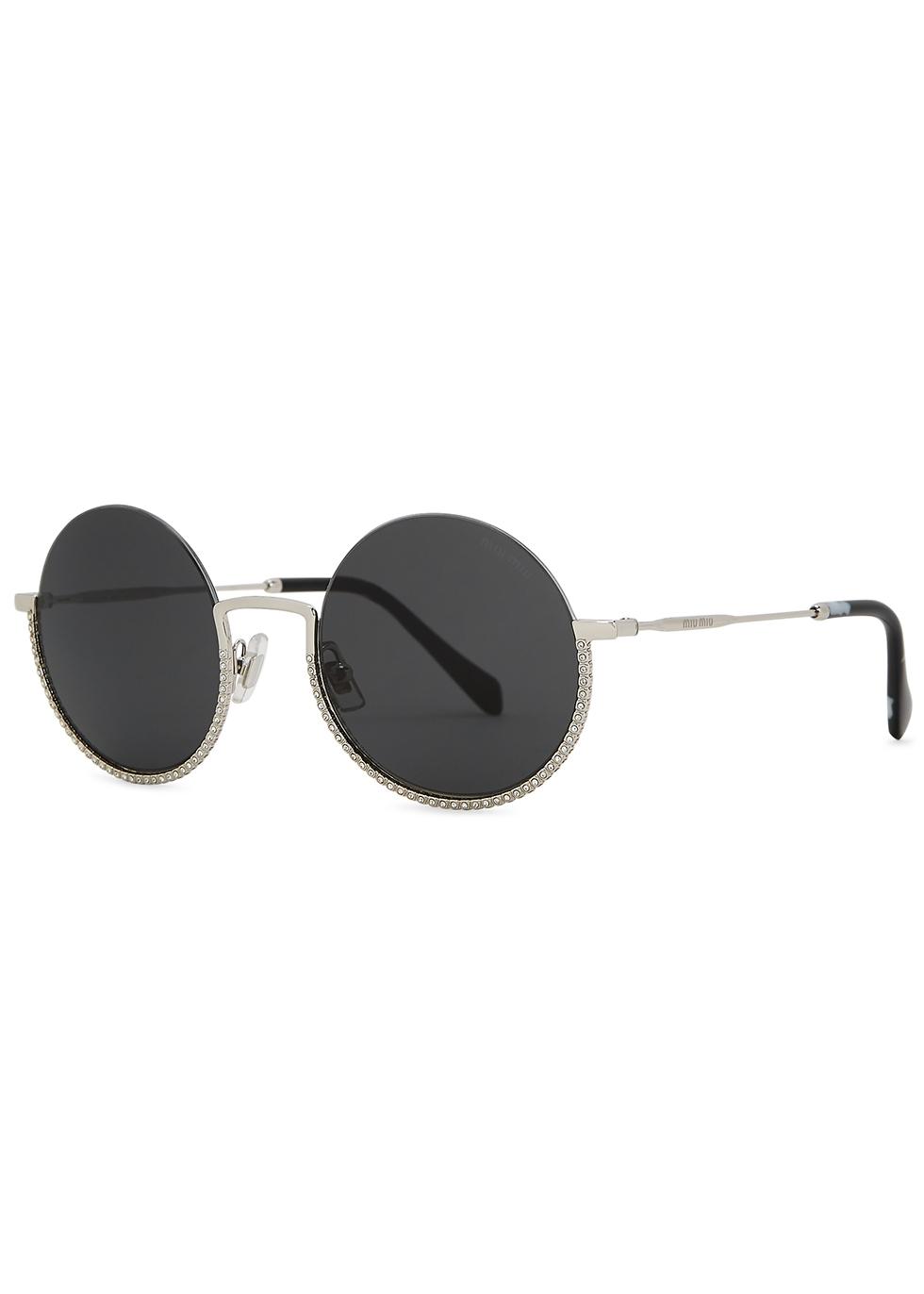 Société crystal-embellished round-frame sunglasses
