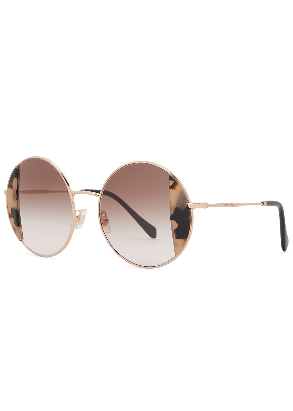 Noir gold-tone round-frame sunglasses