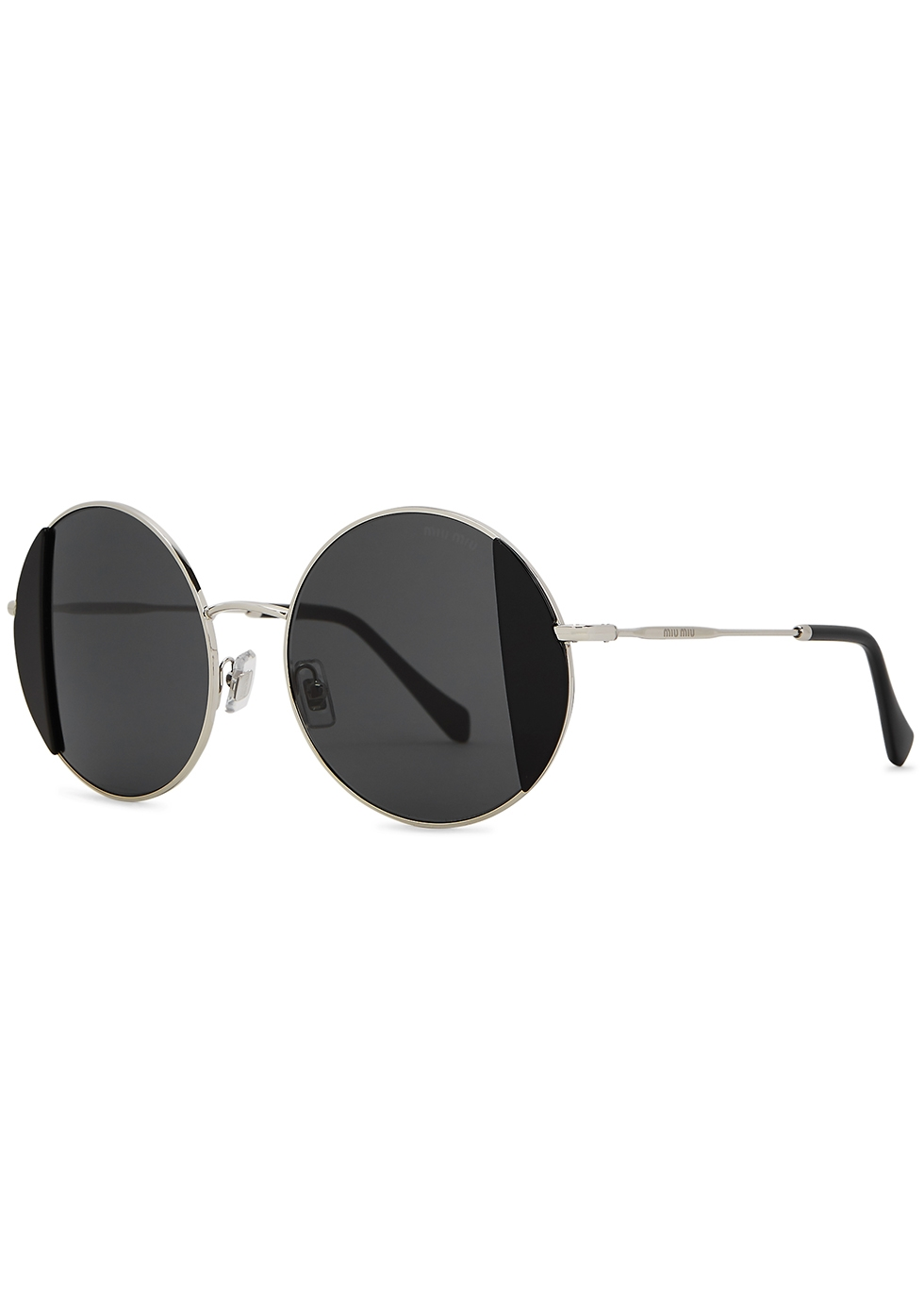 Noir silver-tone round-frame sunglasses