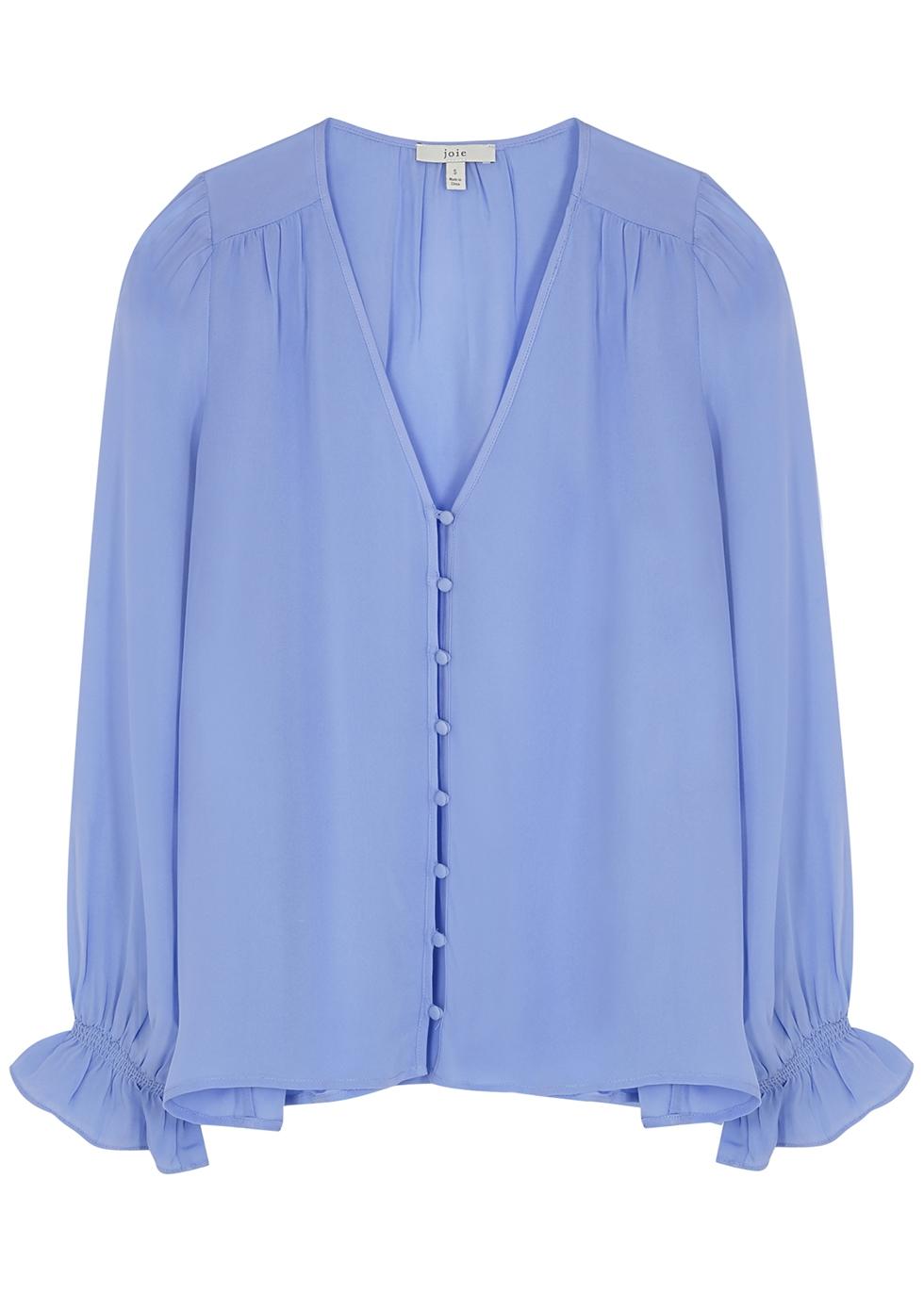 Bolona blue silk blouse