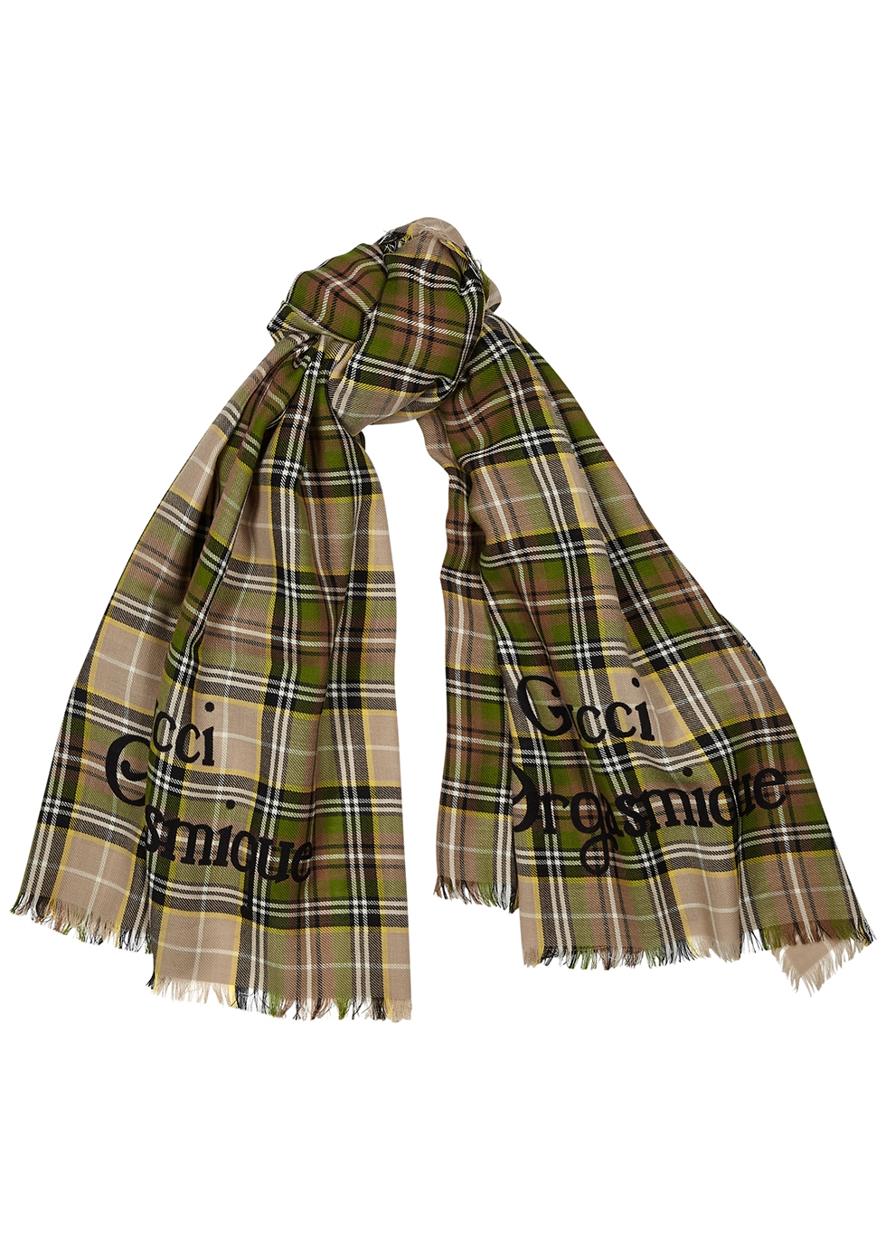 Gucci Orgasmique checked wool scarf