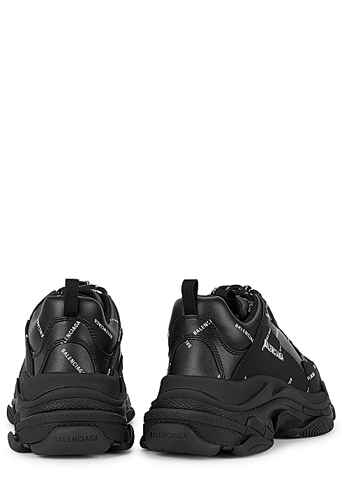Balenciaga Allover Logo Triple S Black Sneakers Harvey Nichols