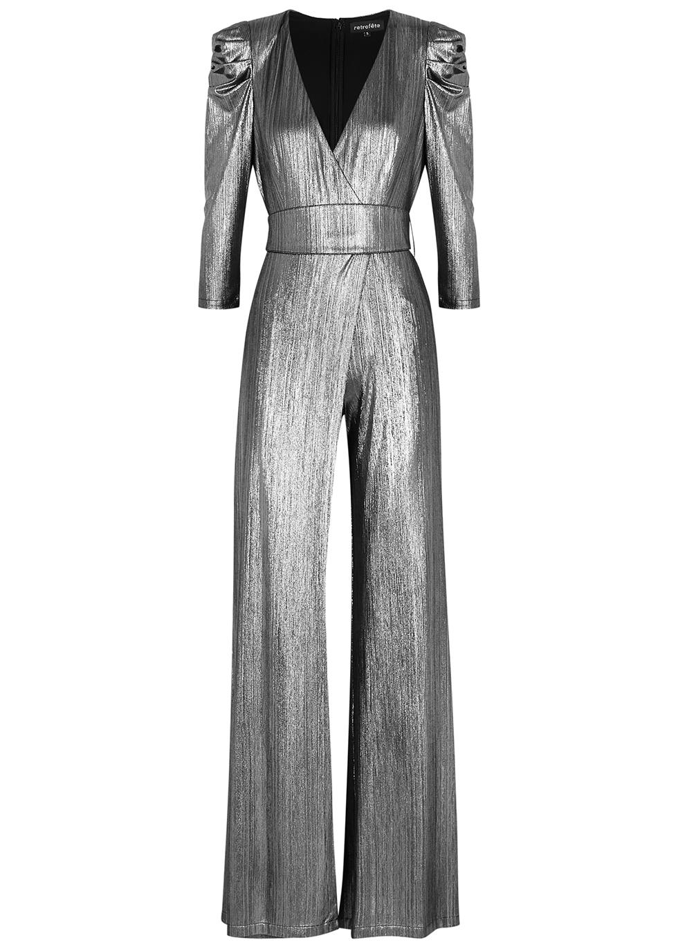 Monroe gunmetal lamé-weave jumpsuit