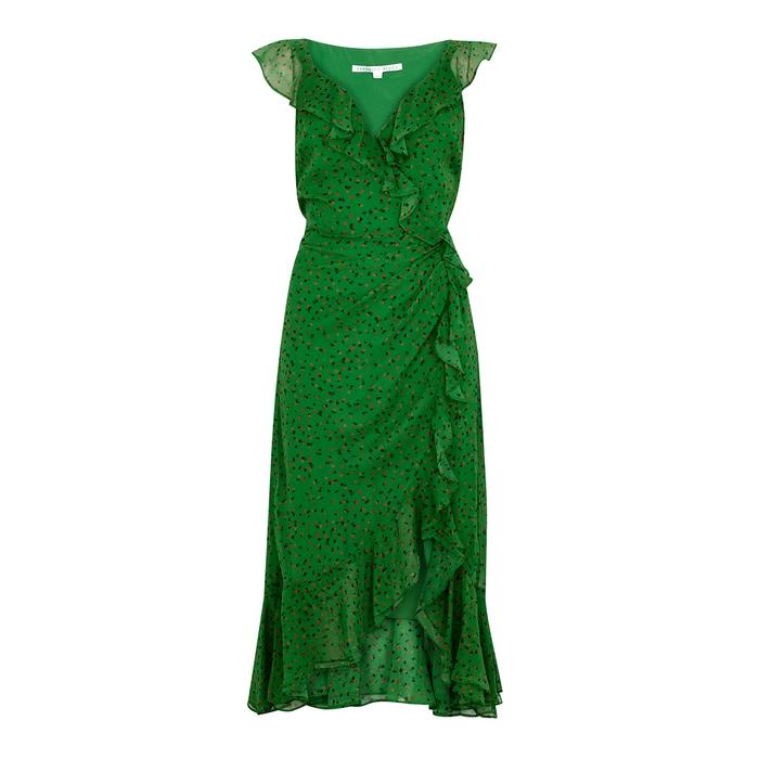 Veronica Beard AMAL PRINTED SILK-CHIFFON DRESS