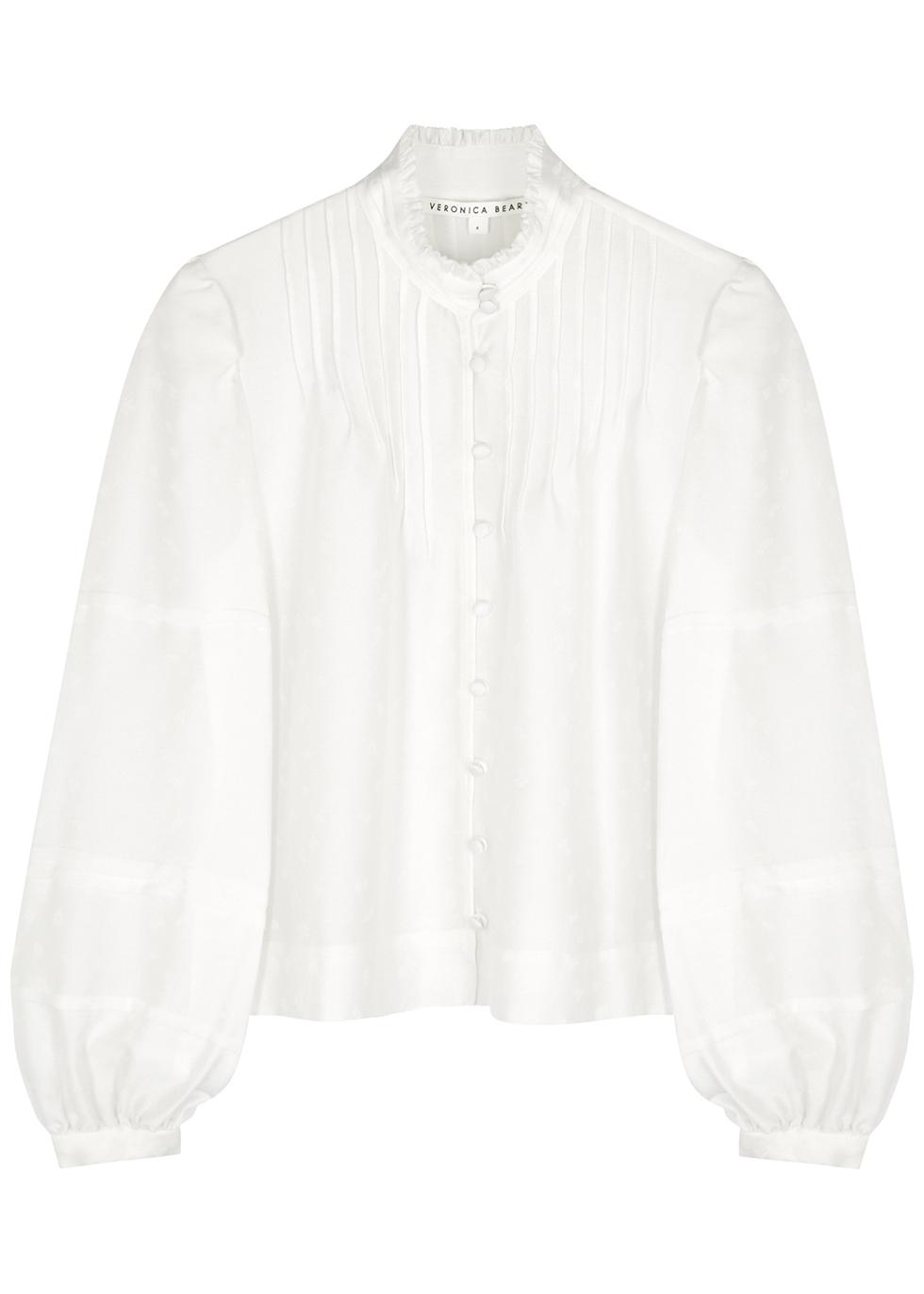 Rylee white jacquard blouse
