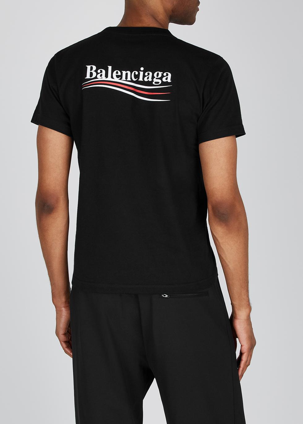Balenciaga Black logo cotton T-shirt