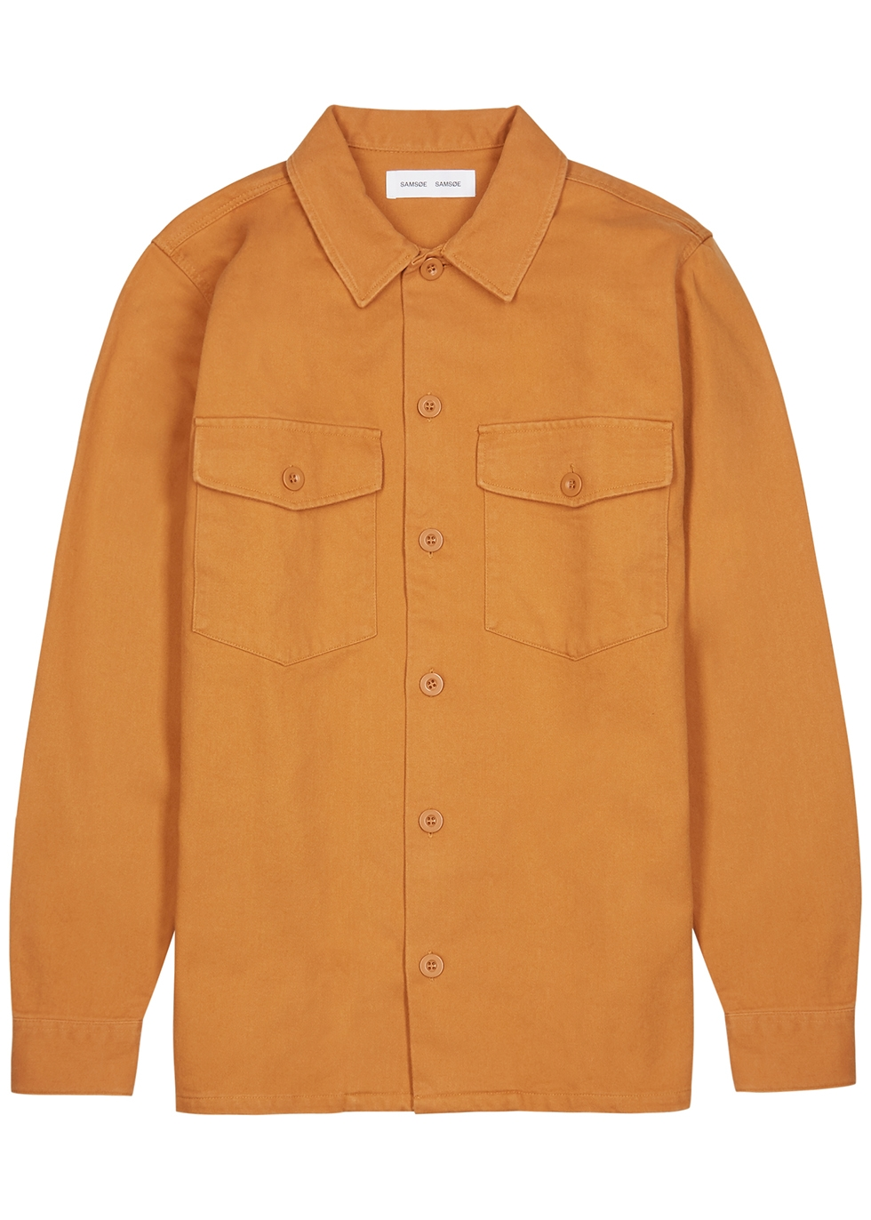 Luccas orange cotton overshirt