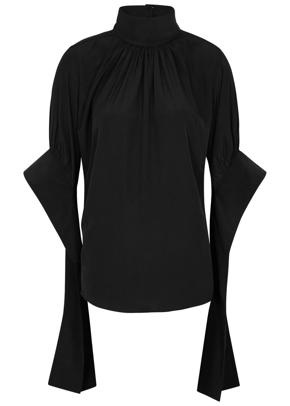 Black draped high-neck top