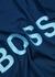 Tiburt navy logo cotton-blend T-shirt - BOSS