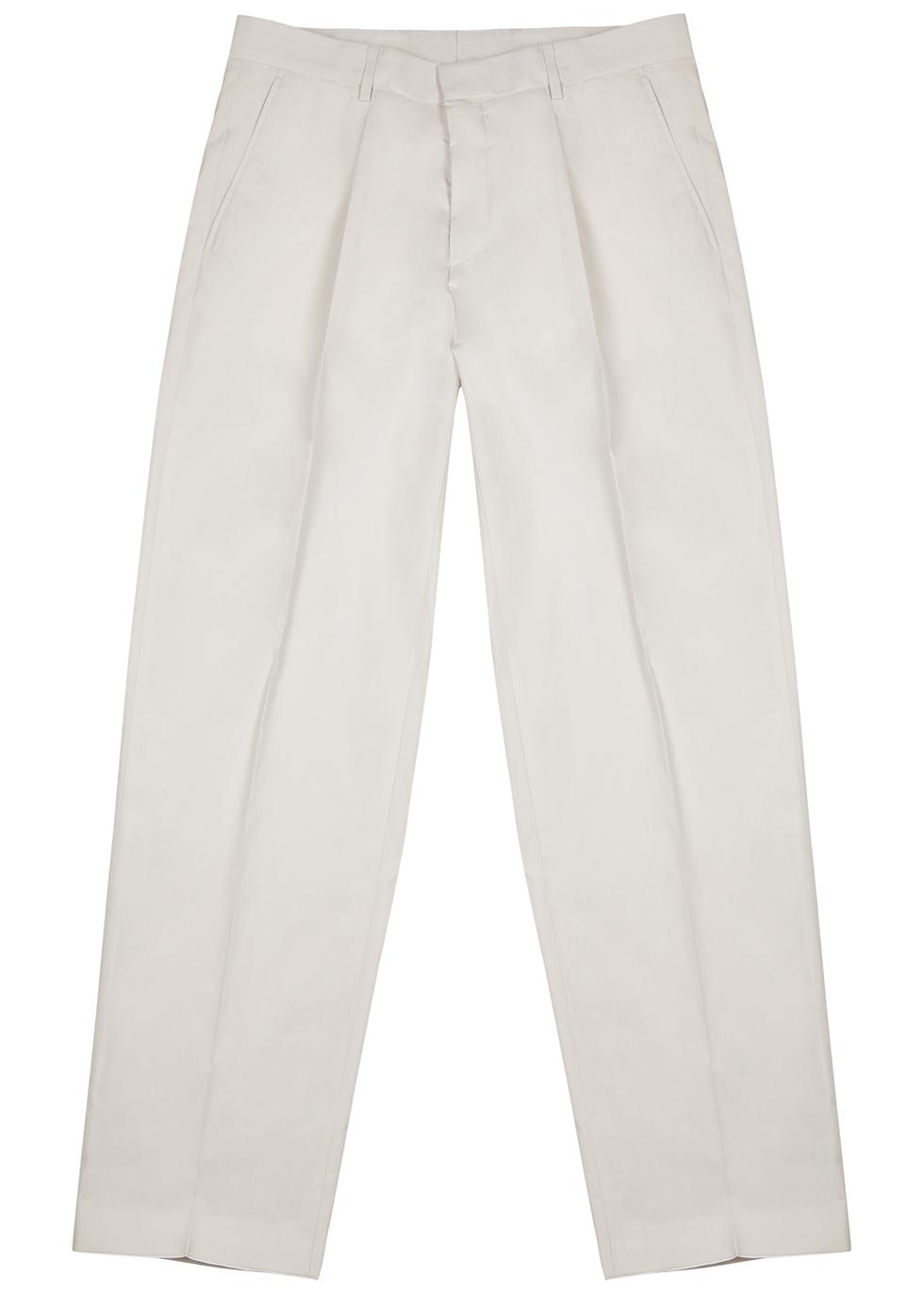 Pero off-white straight-leg cotton trousers