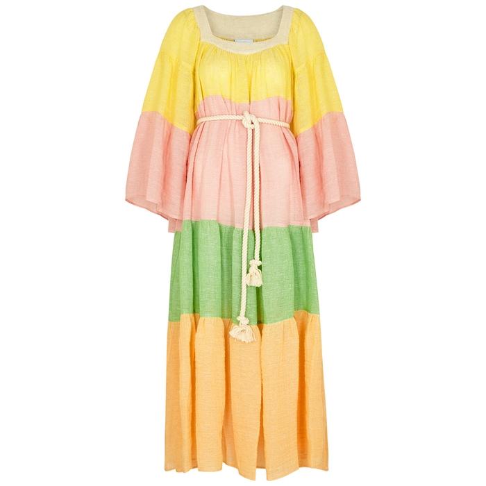 Lisa Marie Fernandez CHIOS COLOUR-BLOCKED LINEN-BLEND MAXI DRESS