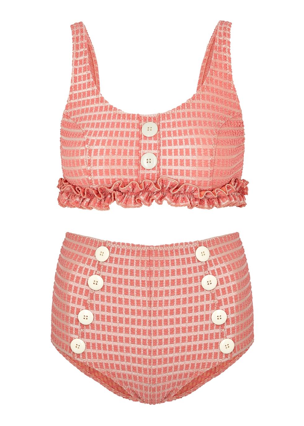 Colby pink jacquard bikini