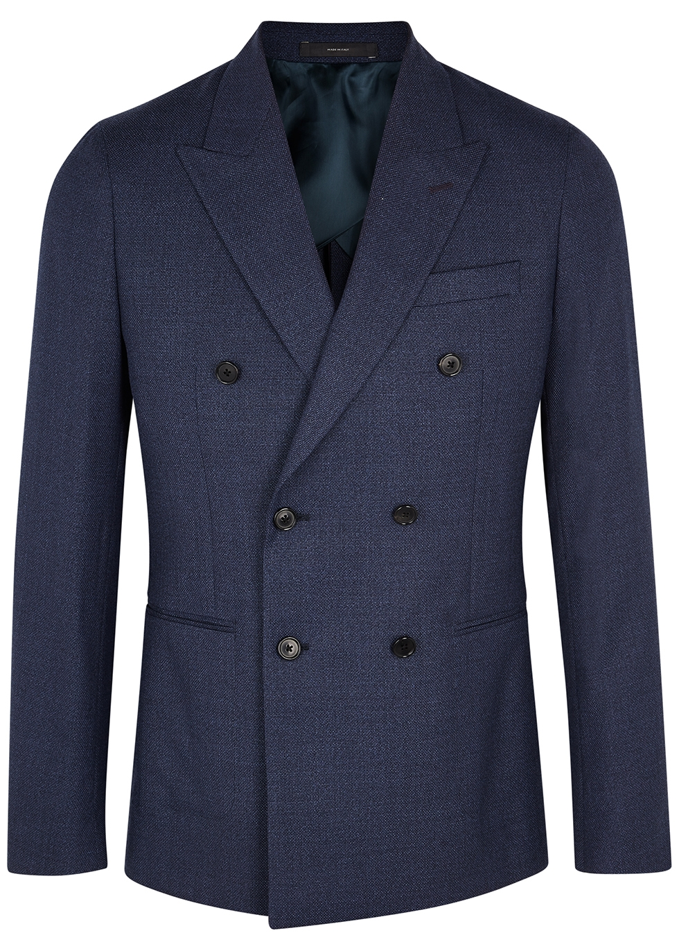 Navy double-breasted wool blazer