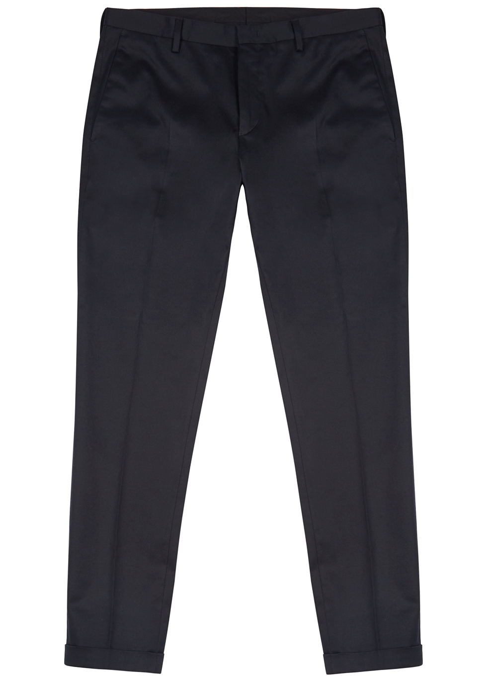 Navy stretch-cotton trousers