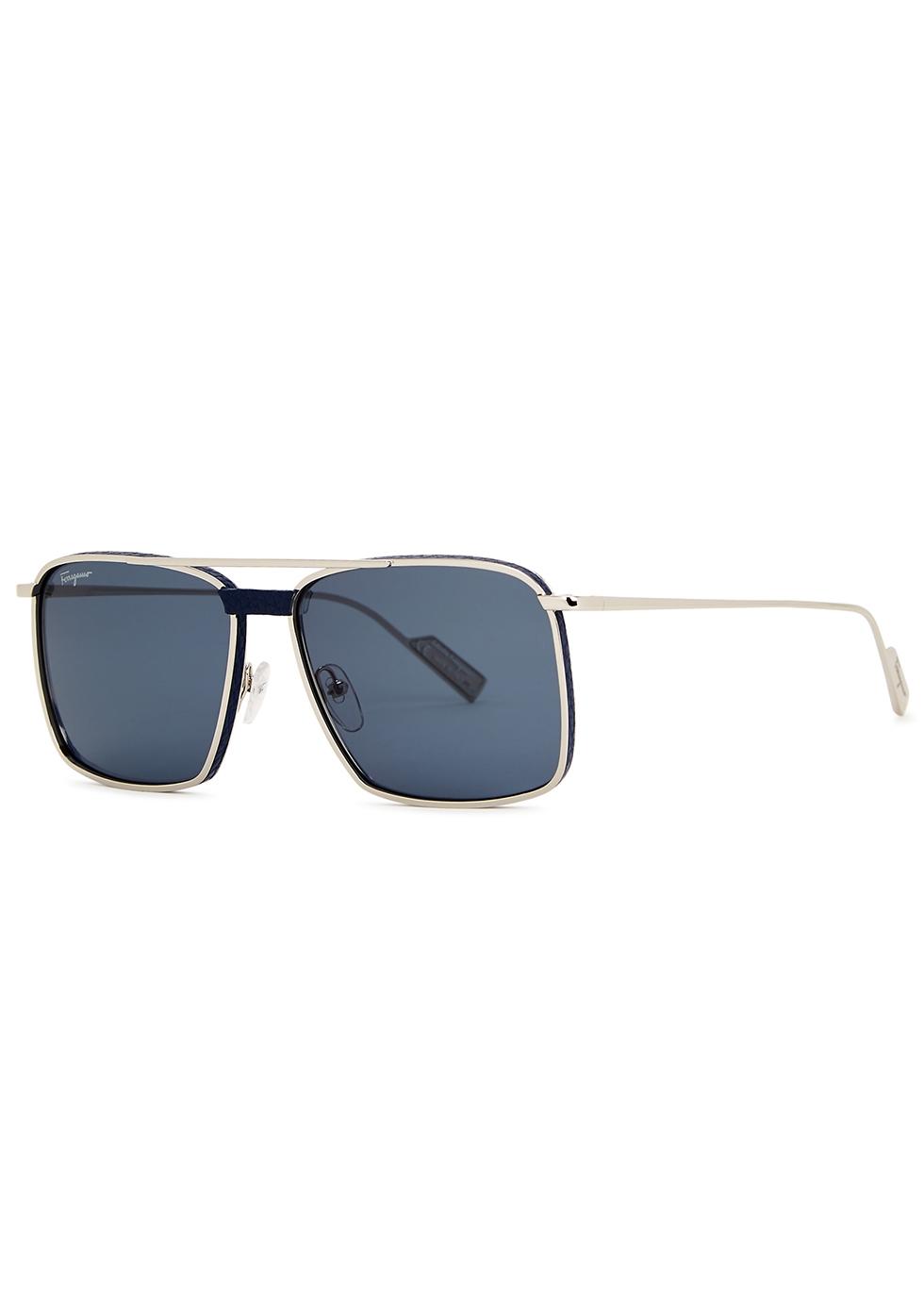 Silver-tone square-frame sunglasses